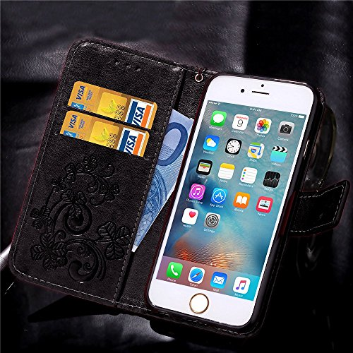 Etsue pour Apple iPhone 6/6S 4.7 Coque,PU Cuir Portefeuille Case Pattern Leather Étui Carte Fentes pour Apple iPhone 6/6S 4.7,Coloré Retro Flip Case Wallet Cover Folio Book Style Magnetic avec Cross G Trèfle quatre feuilles Noir