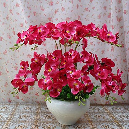 Butterfly Esstisch Set (SCLOTHS Künstliche Blumen Möblierung Dekoration Topfpflanzen Set Butterfly Orchid Silk Blume Wohnzimmer Esstisch)
