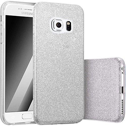Hot Pink Hard Case (FINOO   Samsung Galaxy S6 Rundum 3 in 1 Glitzer Bling Bling Handy-Hülle   Silikon Schutz-hülle + Glitzer + PP Hülle   Weicher TPU Bumper Case Cover   Silber)
