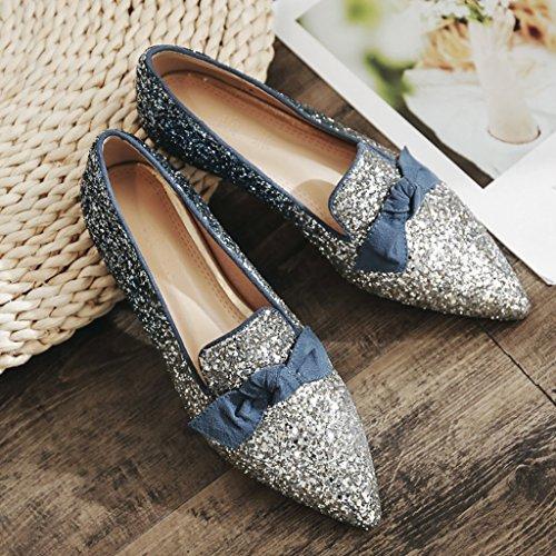 ZCJB Sandales Femme Talon Plat Printemps Saison Shallow Bouche Pointu Chaussures Paillettes Bowknot Chaussures Plates