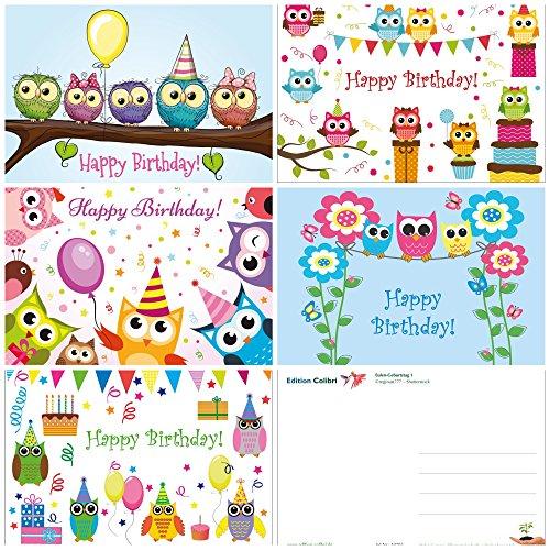 10 lustige Eulen-Geburtstagskarten für Kinder / Mädchen im 10-er Set (5 Motive x 2 St.), 14,8 x 10,5 cm von EDITION COLIBRI (10702-06)