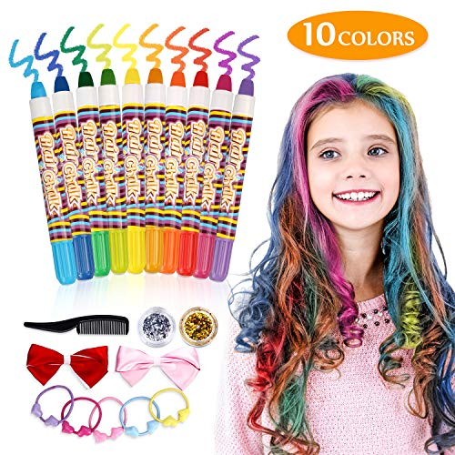 Haarkreide,Emooqi Temporäre Haarfarbe Kreide für Kinder Ungiftige waschbare Haare Kreide für Alter 4 5 6 Plus Mädchen,10 Kreide und 2 Glitters, perfekte Geschenke für Karneval, Geburtstag, Festival