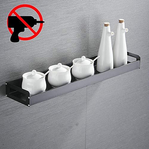 Mensola da cucina autoadesiva, 40 cm, in alluminio, colore nero, da appendere alla parete, mensola angolare
