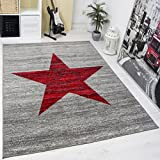Heatset Jugendzimmer Teppich, Sternmuster, Meliert in Rot, Grau - ÖKO TEX Zertifiziert, Maße:120x170 cm