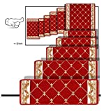 ZENGAIloutidian Rechteck Treppe Stufenmatten 11er SparSet Rutschfest Selbstklebend Silikonboden Drehen Voller Laden Schritt Bodenmatte Treppen Teppich (Farbe : 005#-75x(24+3)/80x50/70x70cm)