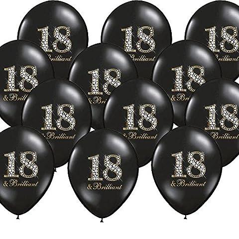 12x Luftballon 18. Geburtstag schwarz Brilliant Partydekoration - Kleenes Traumhandel®