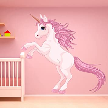 Unicorn Wall Sticker Fantasy Fairy Tale Wall Decal Girls Bedroom - Wall stickers for girls