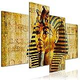 Bilderdepot24 Kunstdruck - Pharao - Ägypten - Bild auf Leinwand - 120x80 cm 4 teilig - Leinwandbilder - Bilder als Leinwanddruck - Wandbild Städte & Kulturen - Afrika - altes Ägypten - Pharaonenmaske