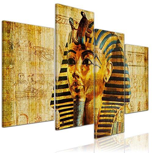 Kunstdruck - Pharao - Ägypten - Bild auf Leinwand - 120x80 cm 4 teilig - Leinwandbilder - Bilder als Leinwanddruck - Wandbild von Bilderdepot24 - Städte & Kulturen - Afrika - altes Ägypten - Pharaonenmaske Modernen ägyptischen Geschichte