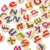 Souarts Mixed Natural Color 2 Holes Wood Wooden Buttons Alphabet Letter A to Z Printed 15mm Pack of 200pcs
