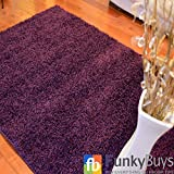 """FunkyBuys Shaggy Rug Plain 5cm Thick Soft Pile Modern 100% Berclon Twist Fibre Non-Shed Polyproylene Heat Set - AVAILABLE IN 6 SIZES On Amazon (Purple, 80cm x 150cm (2ft 6"""" x 5ft 0""""))"""