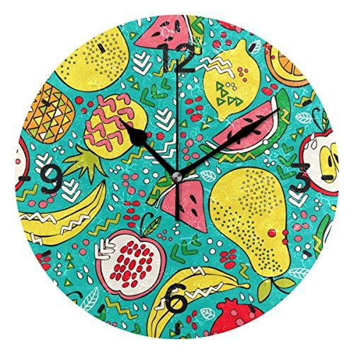 SENNSEE Wanduhr, Bunte Früchte, batteriebetrieben, dekorativ, für Wohnzimmer, Küche, Schlafzimmer, Kunst - Funktioniert Granatapfel