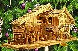 Krippenstall Weihnachtskrippe Ölbaum mit XXL-DEKO-SET, Massivholz edel GEFLAMMT - mit PREMIUM-Krippenfiguren