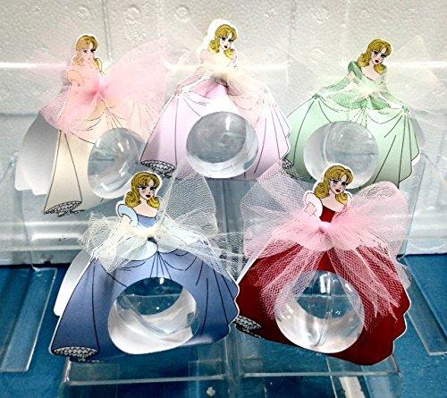STOCK10 PEZZI Design Principesse Scatola portaconfetti porta confetti con palla in plexiglass BOMBON