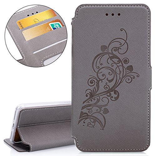 Custodia per Apple iPhone 7 Plus, ISAKEN iPhone 7 Plus Flip Cover con Strap, Elegante Sbalzato Embossed Design in Pelle Sintetica Ecopelle PU Case Cover Protettiva Flip Portafoglio Case Cover Protezio Vine: grigio