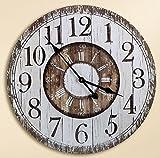 Orologio da parete in legno, per cucina, decorazione effetto legno, rotondo, 60 cm