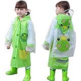 OldPAPA mpermeabile per Bambini, Impermeabile Simpatico Cartone Animato Cappotto di Pioggia Poncho Riutilizzabile in Eva Port