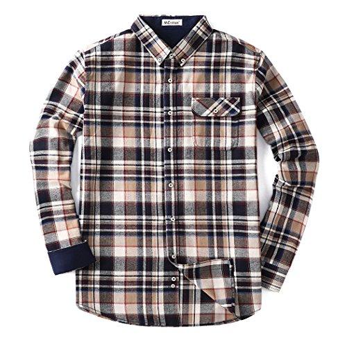 Mocotono Herren Langarm Kariertes Hemd Baumwolle Flanell Hemd mit Super Qualität Khaki XXL (Gefüttert Flanell Khaki)