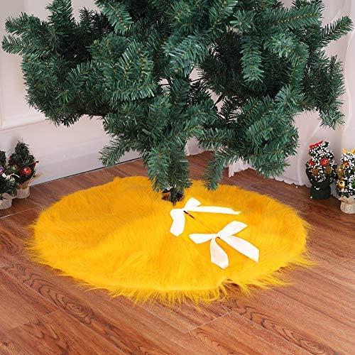 DotPet Weihnachtsbaum-Rock, Weihnachtsbaumschmuck, SAMT, 76,2 cm, rund, luxuriös Kunstfell, Weihnachtsbaumschmuck, Festliche Dekoration gelb