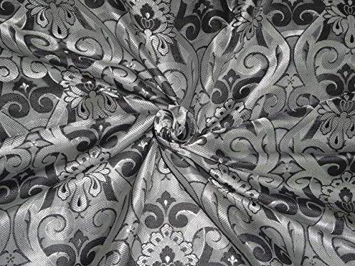 Brokat-Stoff Elfenbeinfarben, grau, schwarz–Hobby, Home Decor, Nähen, Mode, Puppe Kleid, Einrichtung, innen.