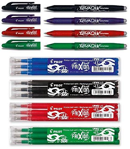 Pilot Pen Frixion Tintenroller (radierbar) 4 Stück farbig sortiert + Ersatzminen, Black, Blue, Red & Green