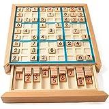 MumooBear Wooden Sudoku Puzzle Board Wood Sudoku Game Set with Drawer Math Brain Teaser Desktop Toys
