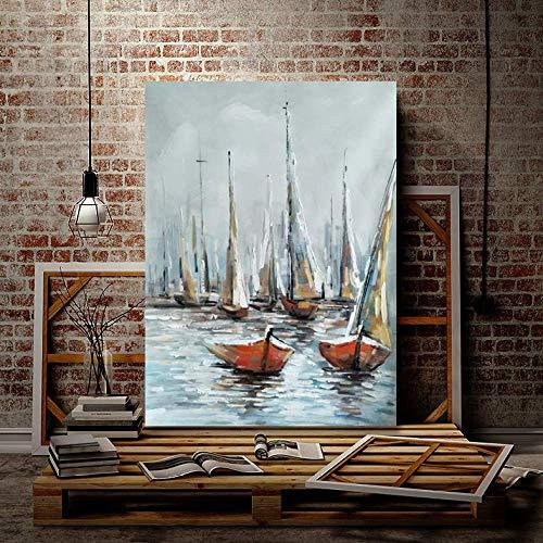 WSNDGWS Barco Dibujado a Mano Pintura Decorativa enmarcada en el Muelle