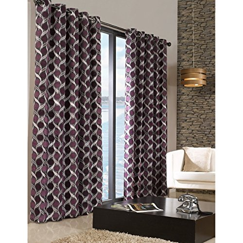 Limoges Patterned Lined Melange Curtains With Eyelet Top (66in x 72in) (Aubergine)