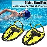 2 Farbe Schwimmen Tauchen Hand Flossen Paddles Webbed Ausbildung Fin Tauchen Ausrüstung ideal zum Schwimmen, Tauchen, Schnorcheln und so weiter (M, Gelb)