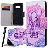 Samsung S8 Wallet Case , WE LOVE CASE Premium Quqlity Leather Cover with Card Holder Kickstand and Magnetic Closure Folio Flip Foldable Book Feature Protective Case for Samsung Galaxy S8 Elephant Pink