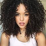 Auspiciouswig, Remy-Echthaarperücke für Damen, Afro, gelockt, unbehandeltes brasilianisches Echthaar, mit Haarnetz aus Spitze, ohne Klebstoff