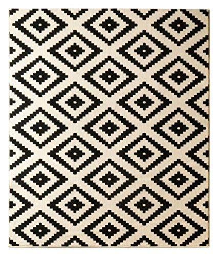 Hanse Home Velours Teppich Raute Schwarz Creme, 80x150 cm -