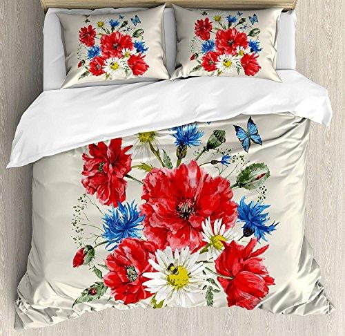 Blumen 3 Stück Bettwäsche Set Bettbezug Set, Vintage Aquarell Bouquet von Wildblumen Mohn Gänseblümchen Kornblumen Schmetterlinge, 3 Stück Tröster / Qulit Cover Set mit 2 Kissenbezügen, Multicolor -