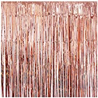 KUMEED Rose Gold Foil Fringe Curtain Backdrop, 2 Pack 3ft x 8ft Foil Curtains Shiny Metallic Tinsel Party Door Curtain Photo Booth Props for Birthday Wedding Bridal Baby Shower Party Decorations