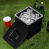 Quadratischer Eiswürfelbehälter Schwarz fasst 10 Liter – Eiswürfelbehälter aus doppelwandigem