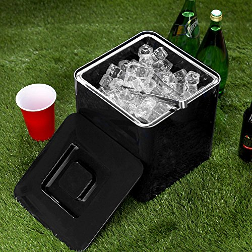Quadratischer Eiswürfelbehälter Schwarz fasst 10 Liter ? Eiswürfelbehälter aus doppelwandigem Kunststoff
