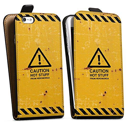 Apple iPhone X Silikon Hülle Case Schutzhülle Warnung Danger Orange Downflip Tasche schwarz