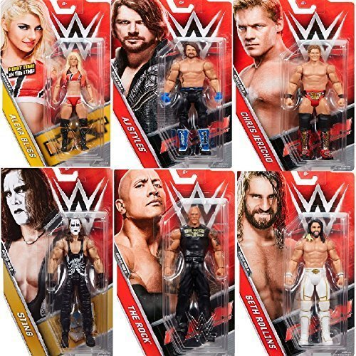 Preisvergleich Produktbild (All 6)Komplettes Set Mit WWE Basic-serie Aktion Figuren 68.5 All 6 - AJ Stile, Alexa Bliss, Chris Jericho, The Rock, Seth Rollins, Sting