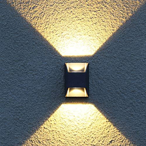 Wtter Moderne Innen- / Außenwandleuchte Mit Zwei Richtungen, IP65-Wasserdichte Schwarze Wandleuchte Für Wohnzimmer, Garten, Terrasse, Flure, Hotels -