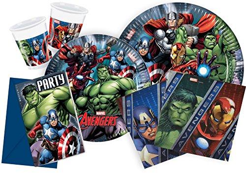 Ciao Y2509 - Kit Party Festa in Tavola Marvel Avengers per 24 Persone (112 Pezzi: 24 Piatti Grandi, 24 Piatti Medi, 24 Bicchieri, 40 Tovaglioli)