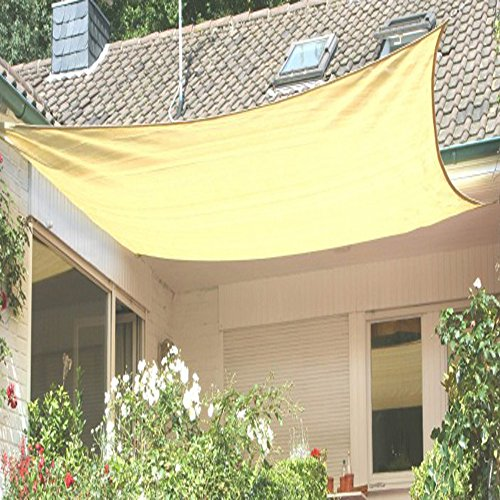 PEGANE Voile d'ombrage rectangulaire Sable Ajouré en Polyéthylène tressé 185 grs/m² Anti-UV, 500 cm x 400 cm avec kit de Fixation