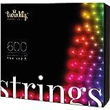 Twinkly - TWS600STP Stringa 600 Luci LED RGB Multicolore - Luci di Natale LED Regolabili da Smartphone - Cavo Nero (48m) - Ab