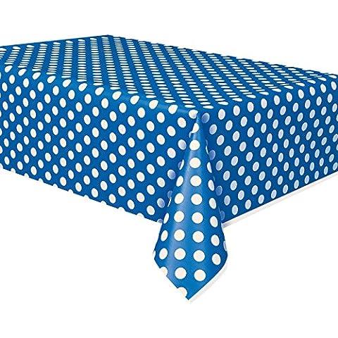 Tovaglia di plastica a pois blu royal, panno pulire partito Tovaglia Covers Panni a pois Tovaglia