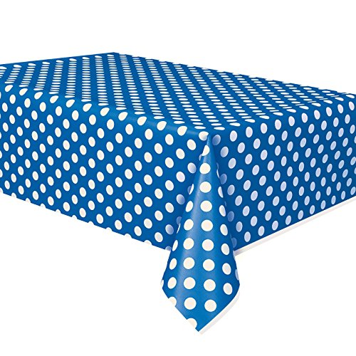 Polka Dot Royal Blue Plastic Table Cover Cloth Wipe Clean Party Tablecloth Covers Cloths Polka Dot Royal Blue Round Table Cover