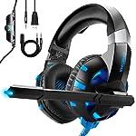 ONIKUMA Auriculares Gaming para PS4 Xbox One o PC con Micrófono y Luz LED, Auriculares de Diadema con Cancelación de...