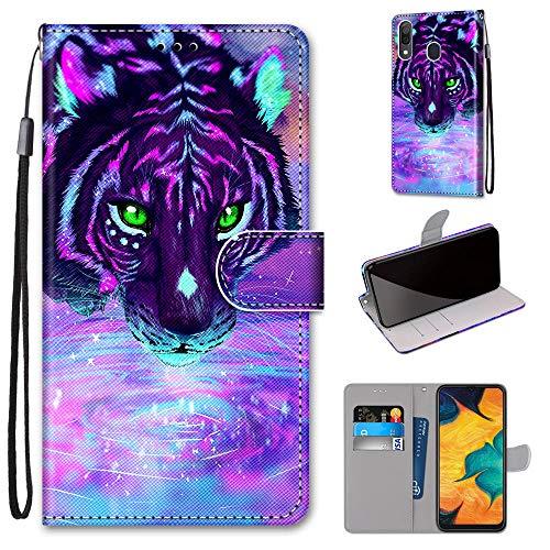 Miagon Flip PU Leder Schutzhülle für Samsung Galaxy A20/30,Bunt Muster Hülle Brieftasche Case Cover Ständer mit Kartenfächer Trageschlaufe,Trinken Tiger
