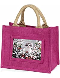 Winter Snow Kitten Little Girls Small Pink Shopping Bag Christmas Gift