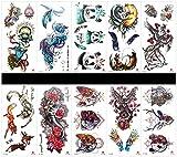 SPESTYLE 10ST Tattoo Panda Tattoos wasserdicht und nicht giftig echte gefälschte Tattoos in 1 Pakete, einschließlich Phoenix, Fuchs, Engel, Tierkopf, Eule, Drachen, Federn, Rose, Panda, etc.