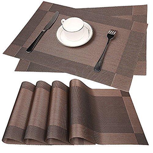 Fontic Platzdeckchen Rutschfest Abwaschbar Tischmatten aus PVC Abgrifffeste Hitzebeständig Tischsets Schmutzabweisend, 6er Set Platzsets, 30x45cm, Braun