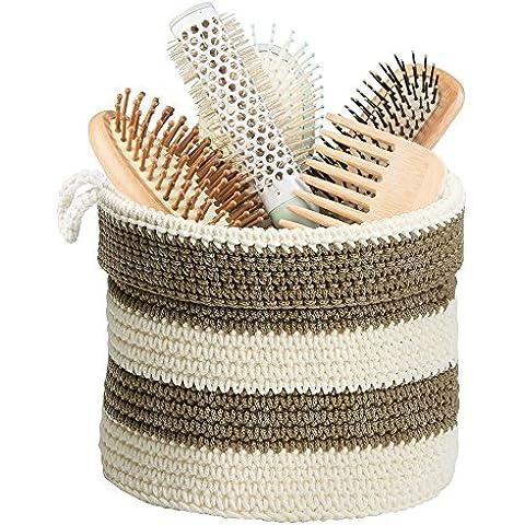 mDesign - Frasco de vidrio, para el tocador del cuarto de baño; guarda bolitas de algodón, hisopos de algodón, aplicadores de cosméticos - Claro/blanco mate